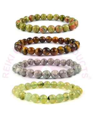 Natural Tiger Eye Picasso Jasper Epidote Unakite Crystal Stone 8 mm DC Beads Bracelet (Color : Multi) Combo Pack of 4 pc