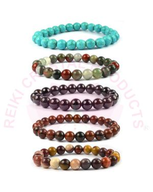 Natural Mookaite Jasper Turquoise Mahogany Obsidian Garnet Bloodstone Crystal Stone 8 mm Beads Bracelet (Color : Multi) Combo Pack of 5 pc