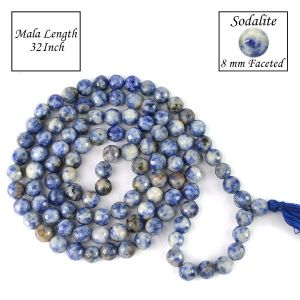 Sodalite 8 mm Faceted Bead Mala