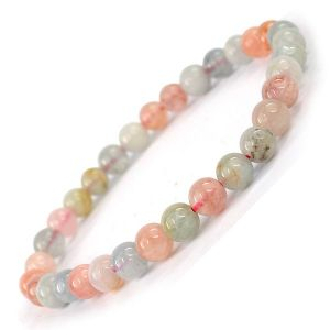 Morganite 6 mm Round Bead Bracelet
