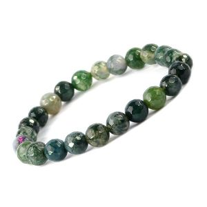 Moss Agate Certificate 8 mm Faceted Bead Bracelet