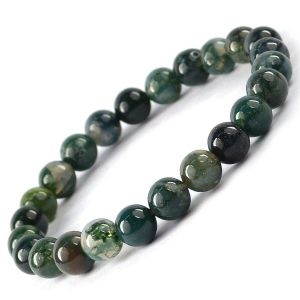 Moss Agate 8 mm Round Bead Bracelet