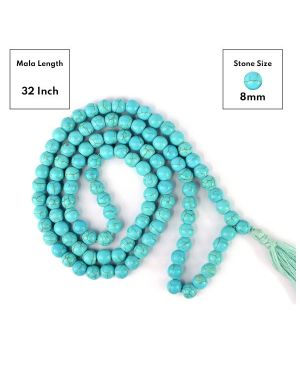 Turquoise Synthetic 8 mm 108 Round Bead Mala