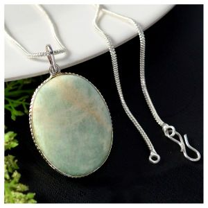 Amazonite Oval Shape Pendant with Metal Silver Polished Chain