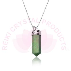 Amazonite Pencil Pendant With Silver Polished Metal Chain