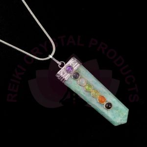 Amazonite 7 Chakra Flat Stick Pendant With Silver Polished Metal Chain
