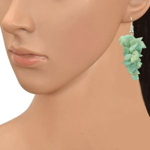 Amazonite Crystal Earrings Natural Chip Beads Earrings for Women, Girls (Color :Green)