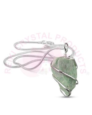 Amazonite Natural Wire Wrapped Pendant with Silver Metal Polished Chain