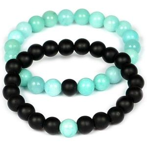 Amazonite with Black Onyx 8 mm Bead Couple Combo Bracelet Pack of 2 pc