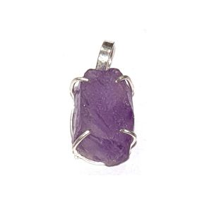 Natural Rough Amethyst Pendant for Reiki Healing and Crystal Healing Stone Pendant (Color: Purple)