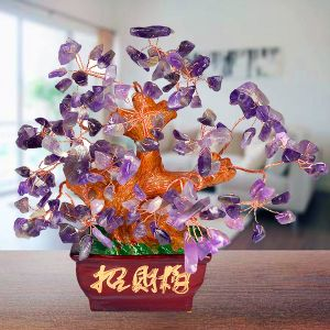 Reiki Crystal Products Feng Shui Natural Amethyst Tree Place for Good Education & Protection (Color : Purple)