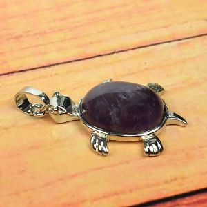 Amethyst Pendant Turtle Shape for Reiki Healing and Crystal Healing Stone Pendant (Color : Purple)
