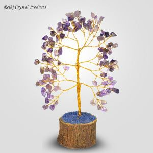 Amethyst Tree Natural Chips Stones 100 Beads Crystal Tree for Reiki Healing and Vastu Correction and Increase Creativity Tree