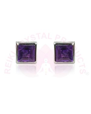 Amethyst Silver Stud/Earring Gemstone for Women & Girls (Color : Purple & Silver)