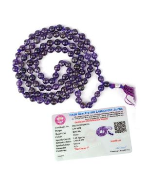 Certified AAA Amethyst 6 mm 108 Round Bead Mala with Certificate