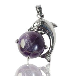 Amethyst Dolphin Shape Pendant with Metal Polished Chain