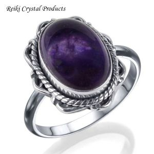 92.5 Silver Ring Amethyst Gemstone Adjustable Ring for Unisex (Color : Purple)