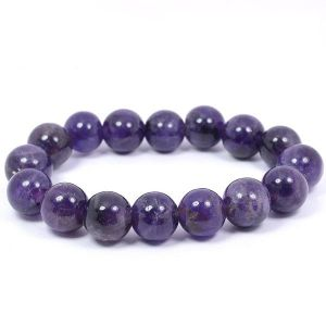 Natural Amethyst 12 mm Round Beads Bracelet