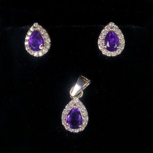 Amethyst 925 Sterling Silver Pendant with Earring Amethyst Gemstone Pendant Earring Set Silver Jewelry Set for Women Girls (Color : Purple & Silver)