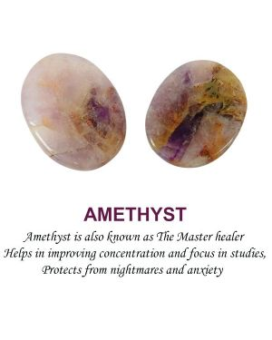 Amethyst Worry -Palm Stone Oval Shape Cabochons Pack of 2 pc