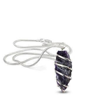 Amethyst Natural Wire Wrapped Pendant with Silver Metal Polished Chain
