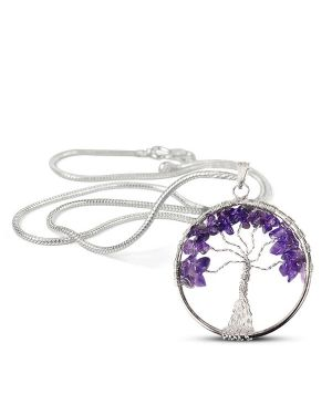 Amethyst Tree of Life Pendant with Silver Polished Metal Chain