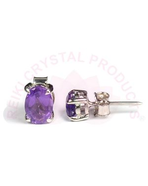 Amethyst Silver Stud/Earring Gemstone for Women & Girls