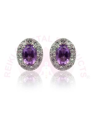Amethyst Studs - Earrings 92.5 Sterling Silver Stud/Earring for Women Girls