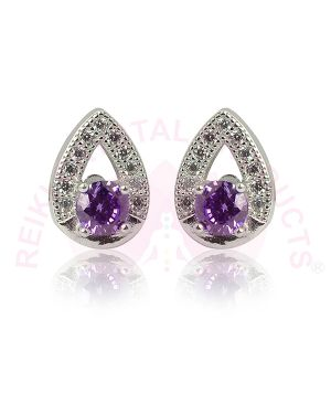 Silver Stud - Earring Purple Color for Women Girls