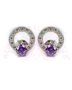 Silver Stud/Earring Purple Color for Women Girls