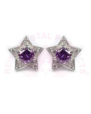 Silver Earring/Stud Purple Color Studs for Women Girls