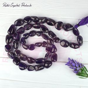 Amethyst Tumbled Bead Mala / Necklace