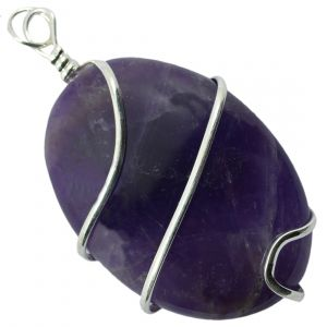 Amethyst Oval Wire Wrapped Pendant