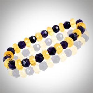 Amethyst + Citrine Bracelet 6 mm - Bracelet for Unisex