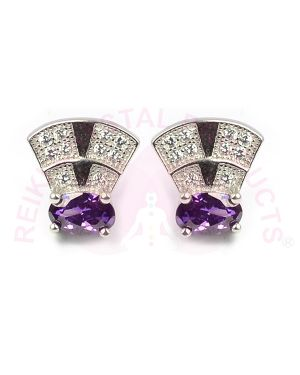 Silver Stud/Earring Purple Color for Women & Girls