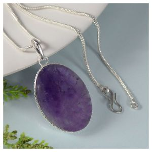 Amethyst Oval Shape Pendant with Chain