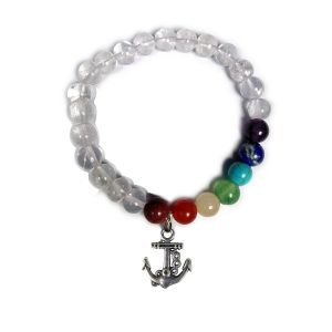 Clear Quartz Bracelet with Hanging Anchor Charm 8 mm Round Beads Bracelet