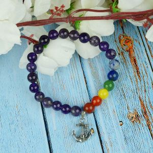 Amethyst Bracelet with Hanging Anchor Charm 8 mm Round Beads Bracelet