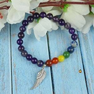 Amethyst Bracelet with Hanging Angel Feather Charm 8 mm Round Beads Bracelet