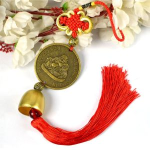Car Decoration Hanging Accessories Feng Shui Hanging Coin Laughing Buddha Bell for Car, Home