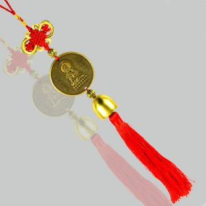 Car Decoration Hanging Accessories Feng Shui Hanging Coin Gautam Buddh Bell for Car, Home