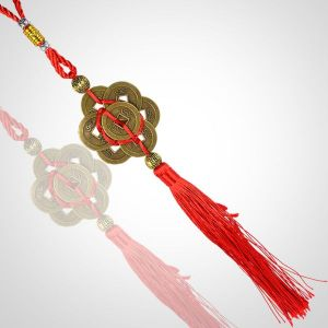 Fengshui 7 Coins Hanging with Red Strings for Good Fortune