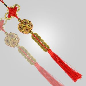 Feng Shui Hanging Coins Bell with Red Strings for Good Fortune