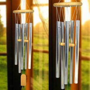 Fengshui Wind Chimes Home Positive Energy Windchimes Silver Hanging Pipe Wind Chimes