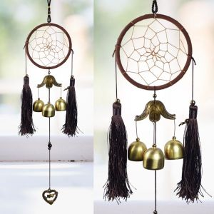 Hanging Dream Catcher with Wind Chimes Home Positive Energy