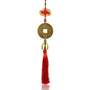 Car Decoration Hanging Accessories Feng Shui Hanging Coin Double Dragon Bell for Car, Home