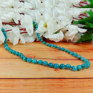 Natural Stone Apatite Mala - Necklace 6 mm 108 Round Beads Jap Mala for Reiki Healing and Crystal Healing Stone (Color :Blue)