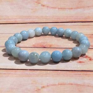 Aquamarine 8 mm Round Bead Bracelet