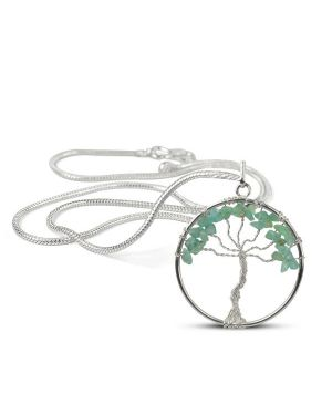 Aquamarine Tree of Life Pendant with Silver Polished Metal Chain