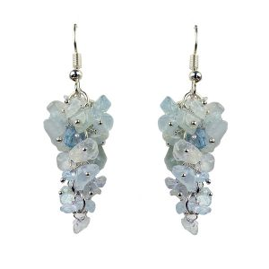 Aquamarine Crystal Earrings Natural Chip Beads Earrings for Women, Girls (Color :Light Blue)